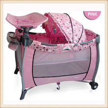 2015 popular design baby travel baby crib attached bed