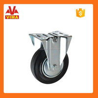 160mm black rubber with roller bearing and fixed castor wheel