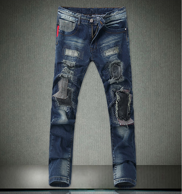 europe mainstream biker mens jeans pants fitness vintage ripped
