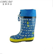 2015 New Desig Navy Blue Oxford Style With Expression Printing ,High Qulity And Cheap Rubber Rain Boot For Girls