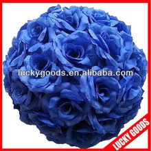 royal blue artificial flower ball,decorative hanging ball,wedding kissing ball