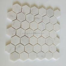 "Italian White Bianco Carrera Marble 2"" Hexagon Mosaic Tile"