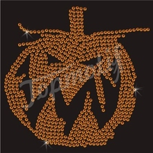 Evil Pumpkin Desgin Crystal Rhinestone Hotfix Transfer Strass Strimming