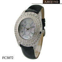 Ladies leather strap black colour wrist watch with stones