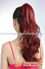 Wholesale price synthetic red claw clip in curly ponytail hair pieces