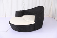 black outdoor round rattan wicker sun lounger