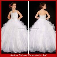 FG-053 Lovely ruffled tull skirt halter neckline ball gown kids wedding dresses on sale