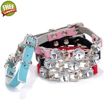 CP 023 Wholesale and Custom Leather Pet Collar beaded dog collar