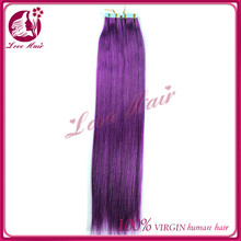 Reliable quality genesis virgin skin weft hair purple color bling bling raw brazilian hair russian tape hair