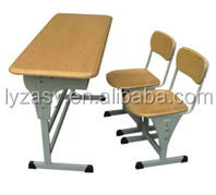 moulded board adjustable double desk and chair, school furniture