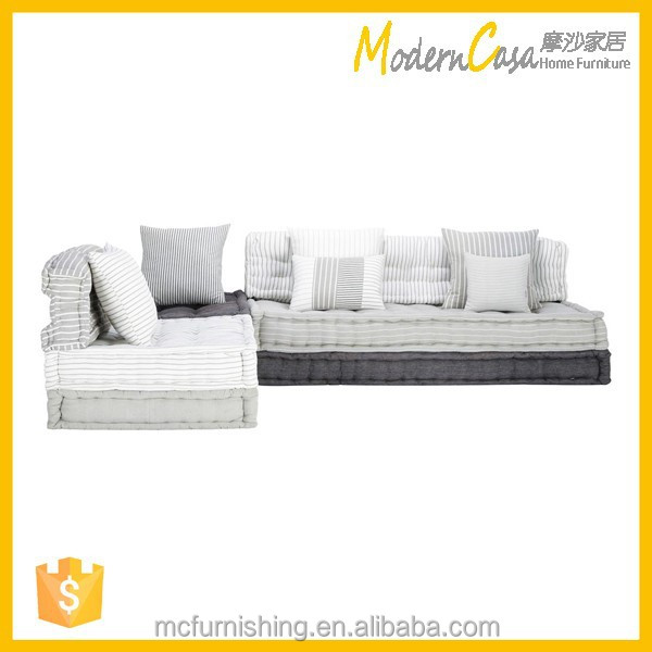 French Style Wooden Living Room Sofa Bed Fabric Corner
