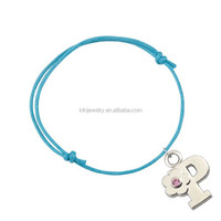 energy and simple rhodium plated crystal alphabet letter P charms colorful waxed string bracelet jewelry