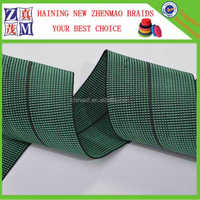 green high quality 100% stretch 5cm sofa elastic belt with PE and rubber