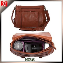 Lady shoulder leather Camera bag with Removable padded insert camera bag dsl
