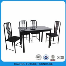 15mm mdf surface power coating leg cheap dining set for sale
