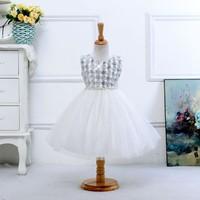 Cotton cloth pearl sequined dress A Line jewel white neckline bow Flower waist fancy taffeta flower girl dress L-48