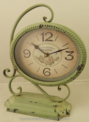 Antique green French style decorative table clock