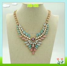 2015 fashion multi stone decorative necklace for women