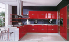 Luxury kitchen design, red lacquer kitchen cabinet, shiny high gloss kitchen cabinets
