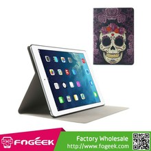 Fast Shipping Flower Skull Pattern Fragrant Folio Leather Stand Cover for iPad Air