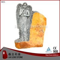 German Style Basalt Natural Stone Angel Tombstone Monument