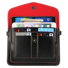 Universal Fashionable Vertical Four Layers Multi-function Leather Cell Phone Shoulder Bag with Card Slots, Strap Length: 180cm