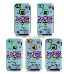 Sunshine Owl Pattern Hybrid Cover Case for Apple Iphone 5C Back Skin Case