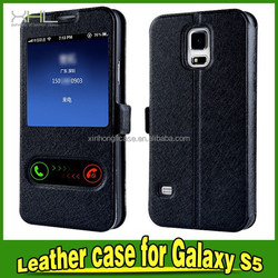 cell phone case 2015 window silk leather case for samsung s5
