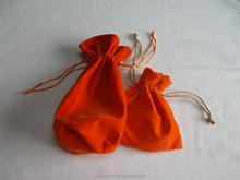 orange velvet drawstring pouches