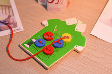 wooden toy for children,a stitch button threading game,wooden toy craft