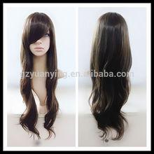 2015 nuevo estilo de pelo largo marrón ondulado pelo pelucas peluca para las mujeres