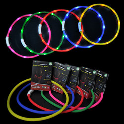 Soft silicone necklaces with LEDs lighting at night