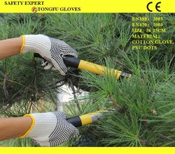 China Wholesale double side dotted pvc gloves / pvc dotted gloves/ cotton gloves with pvc dots anti slip working gloves fr EN388