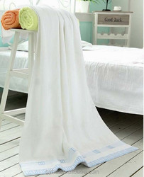 China factory 100 cotton plain dyed cotton border five stars white hotel 21 bath towels