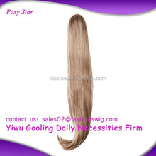 Kanekalon Synthetic white women human hair ponytail Beautiful real human hair ponytail hairpiece