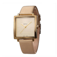 Julius Korea fashion square simple unisex OL women watch real leather band wristwatch JA-354