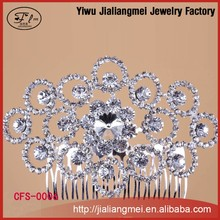 2015 trend Bridal Wedding Flower shining Rhinestones Pearls Women Diamante HairClip Comb