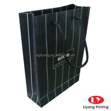 Black and White striped Men's Clothes Paper Shopping Bags
