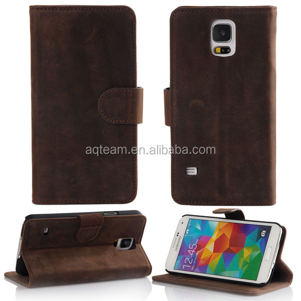 Card slot Stand real leather case for samsung galaxy s5