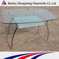 2015 classic tempered glass long narrow dining table