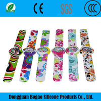 Custom Christmas Business Promotional Colorful Silicone Slap Bands Slap Strap On Watch Silicone Slap Strap Watch