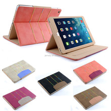 New Style Mix Colorful Lines Leather Stand case With Sleep Wake For Ipad air