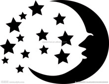 Custom Top Design Safety Waterproof Adhesive Black Only Moon & Stars Tattoo Stickers for Body