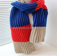 Winter Color Multi Stripe Patterned Knit Infinity fashion lady's knit Scarf