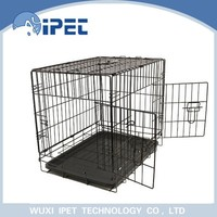 Wholesale two doors plastic tray pan wire pet cage