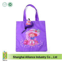 2015 Cartoon Character Girl Printing Purple Color Polyester Foldable Shopping Bag With Handle