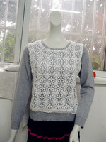 Gray knitting wear stitching hollow-out sweet lady winter sweater pullover