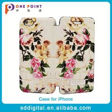 Beautiful rose flower pattern pu leather flip phone cover case for iphone 6 ip6