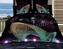 chinese duvet cover city/castle/boat home textiles 3d comforter set