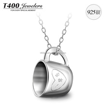 T400 Special design Fashion AAA Zirconia 925 Sterling Sivler Pendant Necklace Cup Shape Jewelry #10649